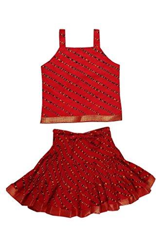 Jaipur Kala Kendra Baby Girls Casual Skirt Top Party Dress Lehanga Choli Summer Kids Gift Skirts Tops Blouse Red 2-3 Years