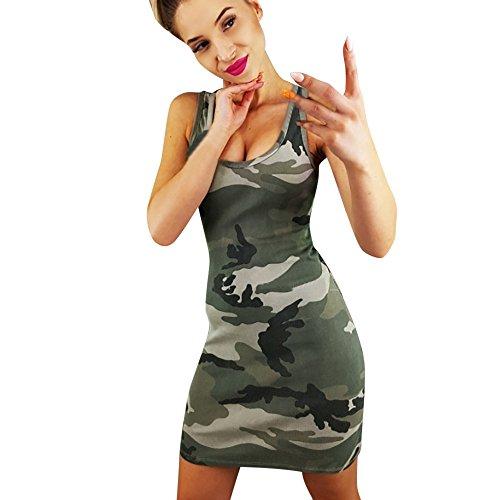 BURFLY Camouflage Print ärmeloses Kleid, Frauen Urlaub Camouflage Kleid Damen Sommer Strand ärmeloses Kleid (M, Tarnung) Sexy Camouflage