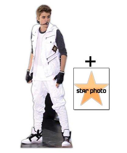 *FANBÜNDEL* Justin Bieber - weiß Trainingsanzug LEBENSGROSSE PAPPFIGUREN / STEHPLATZINHABER / AUFSTELLER - ENTHÄLT 8x10