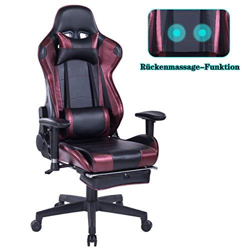 Wolmics Rückenmassage Gaming Stuhl mit Fußstütze,PC Computer Videospiel Racing Stuhl Hohe Rückenlehne Reclining Executive Ergonomic Office Desk Stuhl mit Kopfstütze Lordosenstütze Kissen Wein