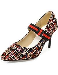 DIMAOL Zapatos de Mujer Fabric Primavera Otoño Mary Jane Tacones Stiletto Talón Señaló Bowknot Toe Para Oficina...