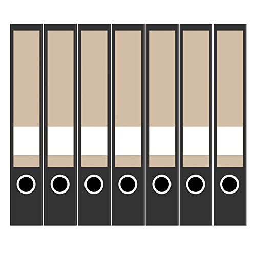 7 x Akten-Ordner Etiketten/Design Aufkleber/Rücken Sticker/Farbe Hellbraun - Beige/für schmale Ordner/selbstklebend / 3,7 cm breit