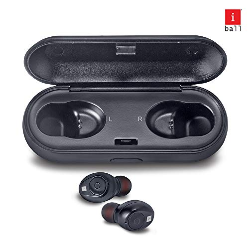 iBall EarWear TW10 in-Ear Bluetooth Wireless Headphones with Protective Charging Case, Black Image 2
