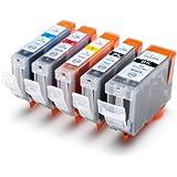 5 Druckerpatronen für Canon Pixma ip4200, ip4300, ip5200, ip5300 mit Chip