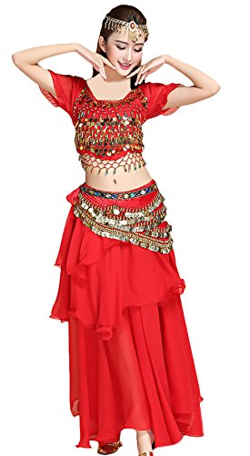 Damen Bauchtanz Kostüm Indischen Tanzkleidung 5 Teilig Set Festliche Elegant Indian Dance Costumes Belly Dance Costumes Darbietungen Kleidung Oberteil/Rock/Hüfttuch/Headwear/Halskette