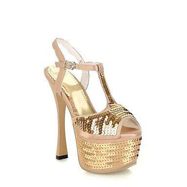 Ch & Tou Femmes-sandales-mariage Bureau Et Travail Soirée Et Fête-plateau De Cheville-a-talon Plateau-pu (polyuréthane) -argento Gold