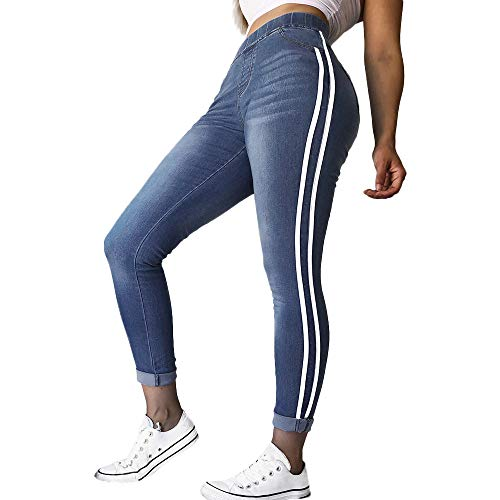 Relaxed Fit, Lange Länge Jeans (ZYUEER Damen Hosen Frühling Frauen Overall Sporthosen Herbst Elastic Plus Enge Füße Lose Denim Ribbon Leggings Slim Fit Lässige Hosen Jeans (S, Weiß))