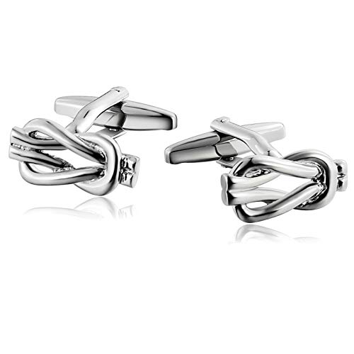 Anyeda classico gemelli per uomo acciaio inossidabile nudo de cuerda tejida argento gemelli nozze camicia accessori