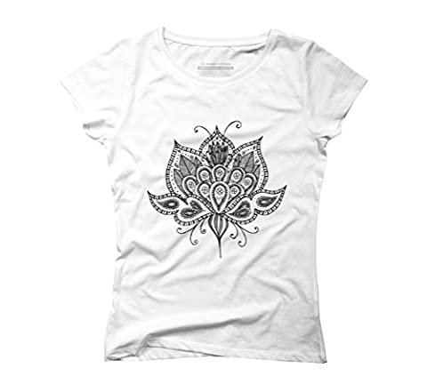 Lotus flower Women's Large White Graphic T-Shirt - Design By