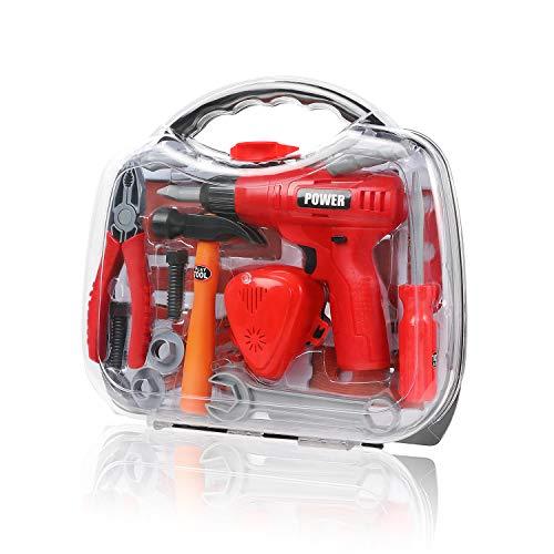 Geyiie Werkzeugkoffer Set Kinderwerkzeug Werkzeug Werkzeugkasten Kinder Spielwerkzeug für ab 2 3 Jahre