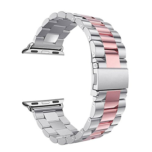 Correas Apple Watch,Correa Apple Watch 38mm Correas iWatch Rosa Schleife® Correa Acero Apple Watch Series 2 Series 1 Banda Pulsera iWatch Reemplazo de Reloj Bracelet Apple Watch Series 3 Pulseras de repuesto de hebilla Acero Inoxidable Deporte strap de la Muñeca para actividad iWatch Sport Editon