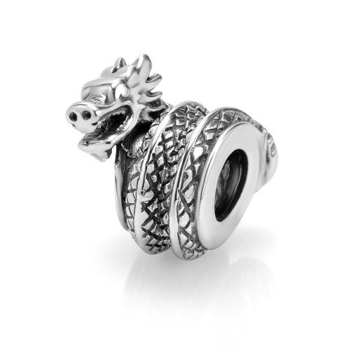 925Sterling Silber Drachen Charm Bead für Pandora Armband (Drache Charm-armband)