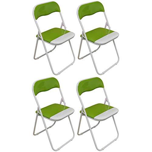 Harbour Housewares Silla de Escritorio Plegable - con Acolchado Verde/Blanco - Pack...