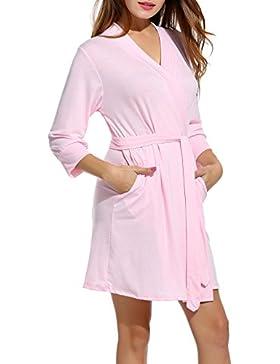 Unibelle Damen Morgenmantel 3/4 Ärmel Bademantel Kimono Baumwolle Saunamantel Robe Negligee Mit V-Ausschnitt