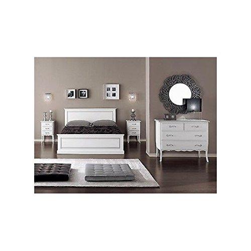 EsteaMobili Chambre de lit laqué Blanc Bois Massif lit como 'Chevet – comme Photos