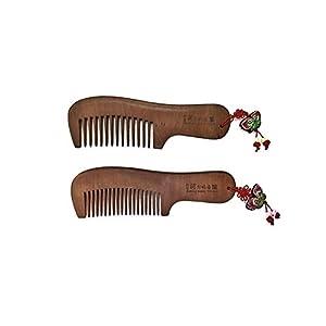 Andong Hahoe Village Handmade Haarkamm antistatischer breiter Zahn zur Vorbeugung von Haarausfall Braun