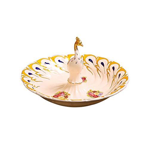 FANXU Europäischen Stil Keramik Pfau Obstschale Wohnzimmer Kreative Heimat Trockenfrüchte Platte Beige Glasur Obstplatte Pfau Keramik