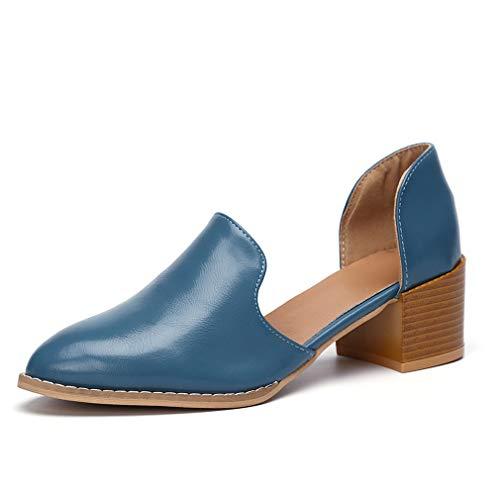 Mokassins Damen Heels Leder Pumps Loafer Blockabsatz 5cm Sommer Low Top Ankle Schuhe Elegante Vintage Flats Bequem Schwarz Blau Gr.35-43 BL38 -