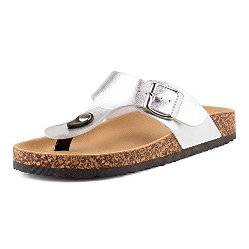 Fusskleidung Damen Zehentrenner Schlappen Pantoletten Sandalen Sandaletten Metallic Komfort Silber EU 36
