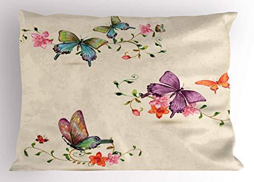 ABAKUHAUS Jahrgang Kissenbezug, Schmetterlings-Sammlung, Dekorativer Standard Queen Size Gedruckter Kissenbezug, 75 x 50 cm, Mehrfarbig -