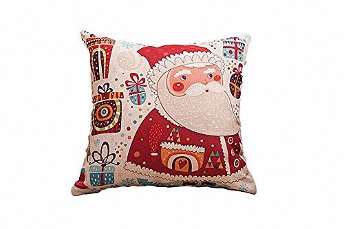 Un Sai Natale Cotone Lino Decorativo Quadrato Throw Pillow Cover cuscino 45,7x 45,7cm 45cmx45cm Santa Claus