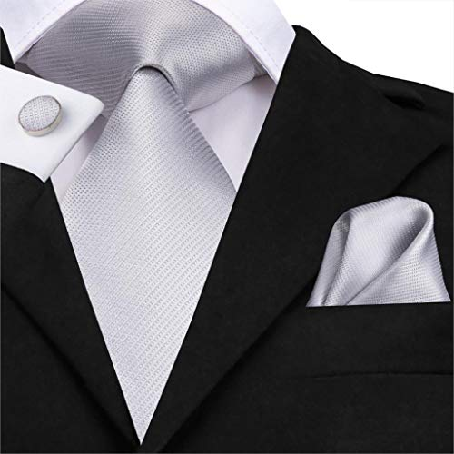 HYCZJH Men Tie Silk Woven Solid Silver Plain Tie Luxury Party Wedding Classic Fashion Handkerchief Cufflinks Tie Set 8.5Cm Woven 3 Mens Tie