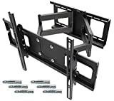 RICOO R06-F TV Wall Bracket Tilt Swivel Universal LED Curved Television Mount Rack Flexible Adjustable Extendable Holder Arm Mounting 32'-70' Inch VESA 600x400 Black With Fisher Dowels