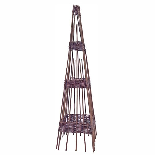 Rankhilfe Obelisk Weide 36x36x120cm Rankgerüst Rankgitter Ranksäule Kletterhilfe