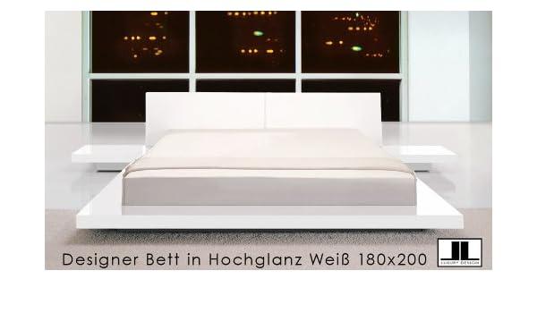 Designer Doppelbett Bett Hochglanz Weiss 180x200: Amazon.de ...