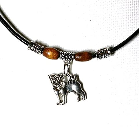 Retro Black Real Leather Cord Anklet or Bracelet & Tibetan Silver Charm Pendant (Pug Dog Charm)