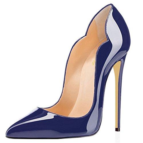 Lutalica Frauen Farbverlauf Spitz Lackleder Sexy Stiletto Heel Hochzeit Abend Pumps Schuhe Blau...