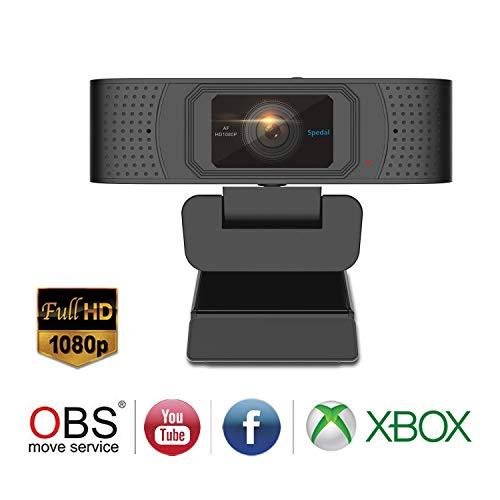 Spedal Pro Stream Webcam 1080P, Obturateur Privacy, Deux Microphones Stéréo, Autofocus Live...