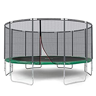 Ampel 24 Outdoor Trampolin 490 cm grün komplett mit außenliegendem Netz, Belastbarkeit 180 kg, Sicherheitsnetz mit 12 gepolsterten Stangen und Stabilitätsring