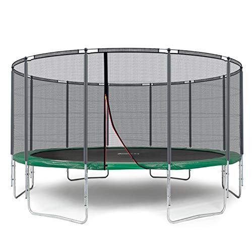Ampel 24 Outdoor Trampolin 490 cm grün komplett mit außenliegendem Netz, Stabilitätsring, 12 gepolsterten Stangen, Belastbarkeit 120 kg