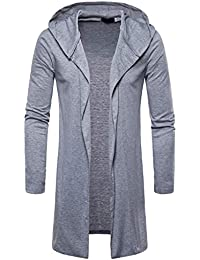 Manalian Mode Herren Strickjacke Mit Kapuze Einfarbig Graben Mantel Jacke  Strickjacke Lange Ärmel Outwear Lang Mäntel 5901379a70