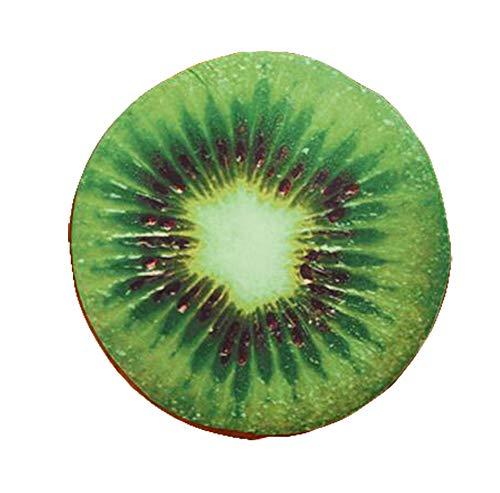 Rund Sitzkissen Frucht Weiches Plüsch Kissenbezug Stuhlkissen Holz oder Obst als Wassermelone Zitrone Kiwiv für Zuhause Garten oder Café Size Durchmesser 33.0cm (Kiwi) ()