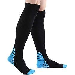Isuper 1 par Unisex Calcetines de compresión Deportes Antideslizante Calcetines Largos cómodo Correr Ciclismo Medias Azules S/M Tamaño
