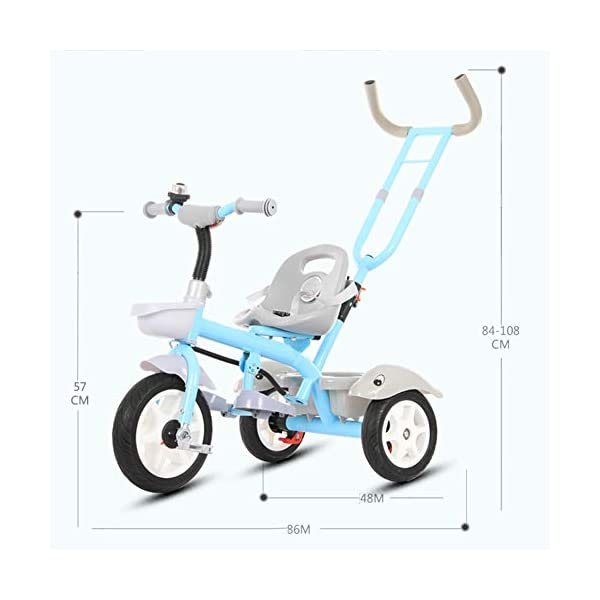 GSDZSY - Child Tricycle With Removable Push Handle Bar, Adjustable Seat And Seat Belt, Shock Absorption EVA Wheel,Folding Footrest,1.5-6 Years,H GSDZSY  3
