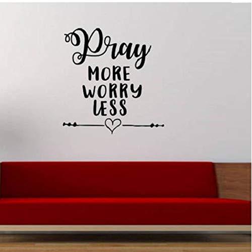 WENHAODJ Gebet mehr Sorgen weniger Schriftzug Muster entfernbare wandaufkleber Wohnzimmer Kunst Vinyl Aufkleber Kindergarten kinderzimmer wandbild 53x42 cm
