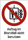 Schild Kombischild Aufzug im Brandfall nicht benutzen 18,5 x 13,1cm Alu