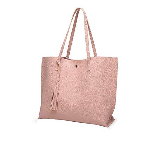 Sichyuan 7 Farben Hohe Qualität Dauerhaft Damen Shopper Ledertaschen Handtaschen,Klassisch Und Mode Leicht Umhängetasche Tote Bag Schultertasche Handtasche . Pink
