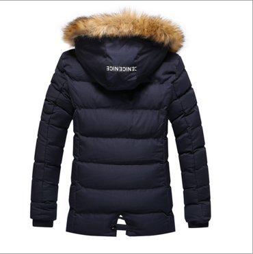 OHmais homme parka manteau d'hiver veste à capuche fourré Bleu