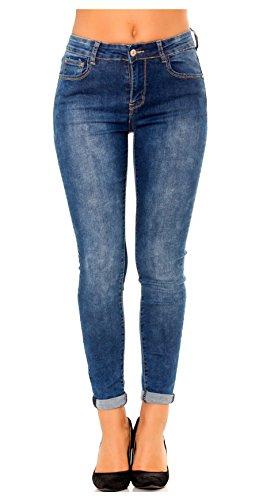 Jean femme slim pantalon skinny à revers jeans denim bleu taille 42