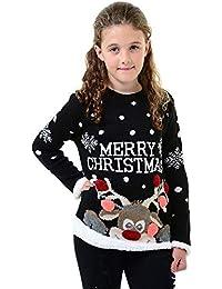 GirlzWalk Jersey de Navidad unisex para niñas y niños, con varios diseños, 3D de punto de Navidad, para niños de 3 a 13 años