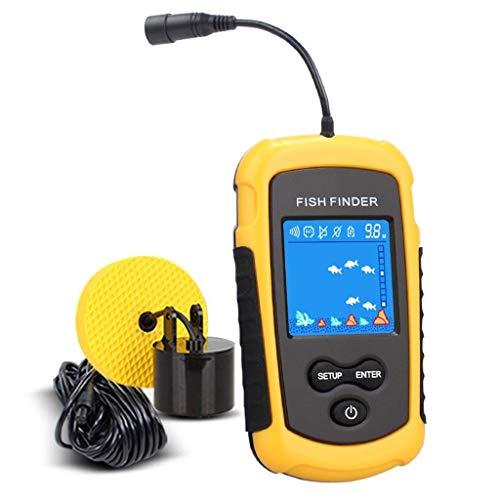 FINDYU Fisch Finder, Wasserdicht Intelligent Sonarsensor HD-Farbbildschirm Unterwasser Visualisierung Tiefendetektor (Color : Yellow) Humminbird Anzeigen