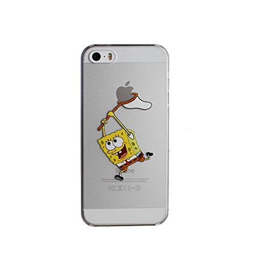 RONNEY'S Cartoon Bob l'éponge Coque souple transparente en TPU pour Apple iPhone avec protection d'écran, plastique, SPONGEBOB, APPLE IPHONE 6/6S