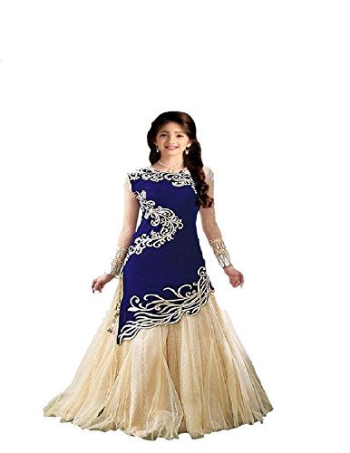 Fashion Dream Baby Girl Embroidery Semistitched Party Wear Salwar Suit Dress Material (8-12 Year baby Girls)