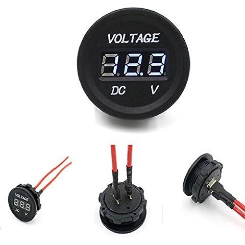 Sannysis® 12V-24V DC Auto Moto LED display digitale Voltmetro Meter impermeabile(Blu)