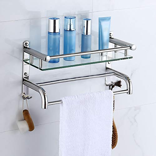 XSJJ Badezimmer-Regal-Toiletten-Lagerregal-Tuch-Zahnstangen-Edelstahl-Glasgestell-Toilettenartikel-Vollenden-Rahmen-kosmetisches Speicher-Regal-optionale Spezifikationen Badezimmerregal
