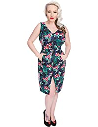 Hearts and Roses ASIATIC Lilies Orchid Retro 50s Pencil Dress Kleid Rockabilly